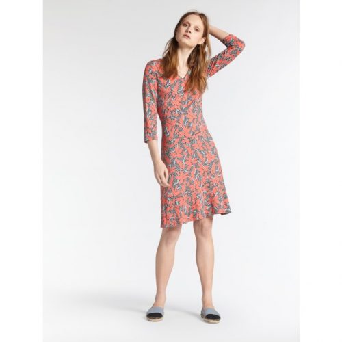 sandwich print dress orange grey